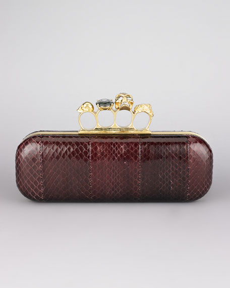 Snakeskin Knuckle-Duster Clutch Bag