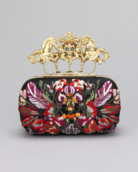 Embroidered Unicorn & Skull-Clasp Clutch Bag