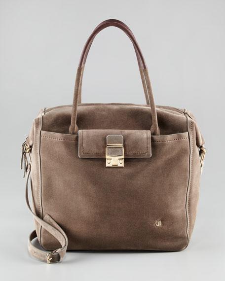 Suede Vertical Bowler Bag