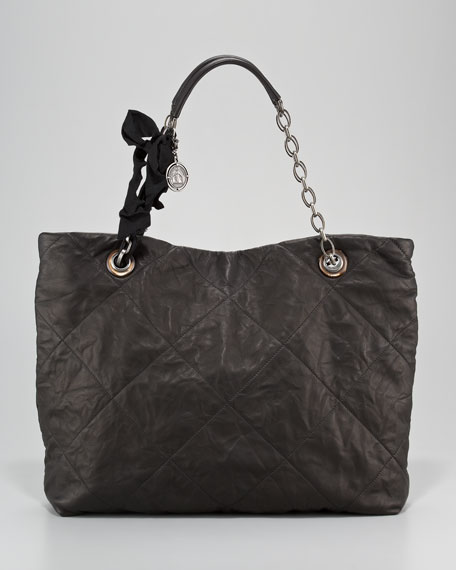 Amalia Quilted Lambskin Bucket Tote Bag, Noir