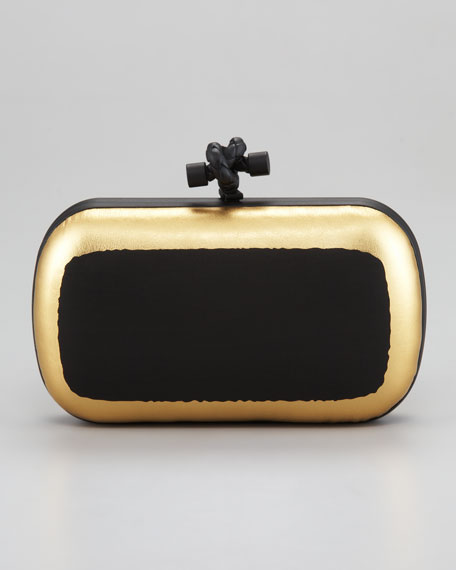 Metallic-Trim Mini Minaudiere Clutch Bag