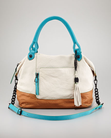 Colorblock Trapezoid Lambskin Satchel Bag