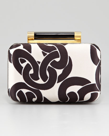 Chain-Print Tonda Clutch Bag
