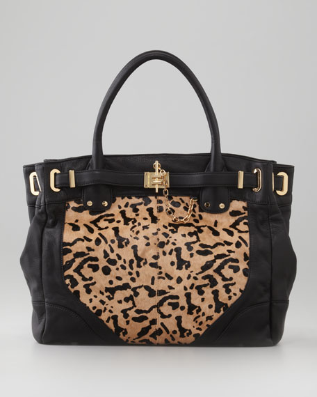 Leopard-Print Calf Hair Zoe Tote Deux Bag