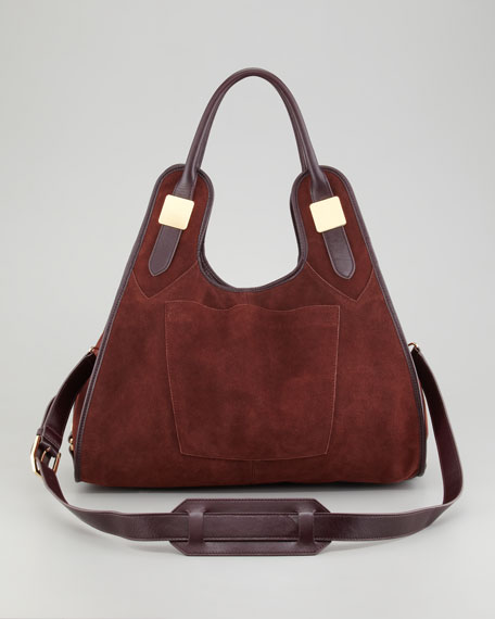 Lucas Medium Suede Shopper Bag, Sella