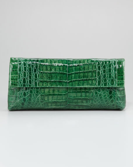 Crocodile Flap Clutch Bag, Large