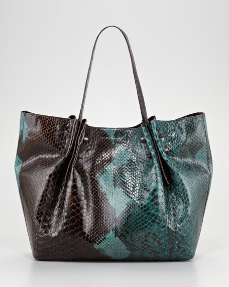 Crocodile and Python Tote Bag, Brown