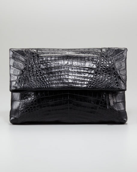 Crocodile Fold-Over Clutch Bag