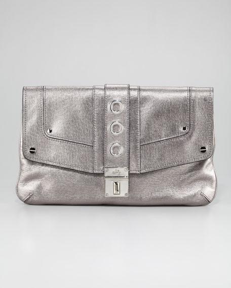 Harper Metallic Clutch Bag, Gunmetal