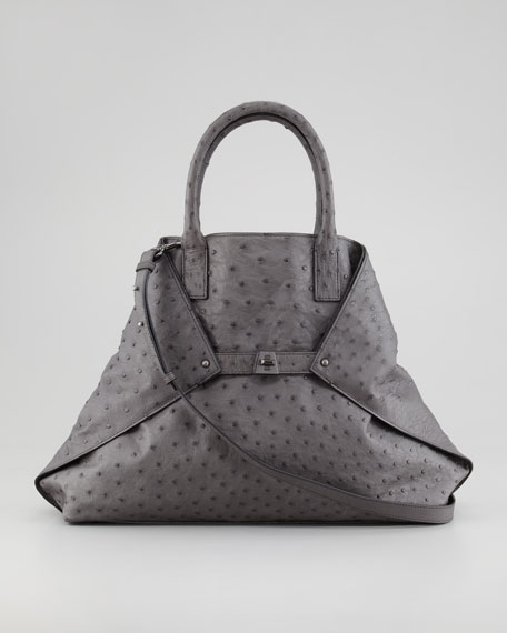 Ai Ostrich Tote Bag, Slate