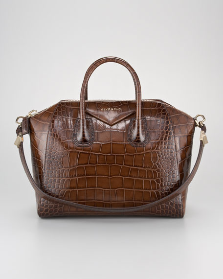 Antigona Crocodile-Embossed Duffel Bag, Medium