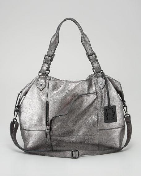 Metallic Unzipped Satchel Bag