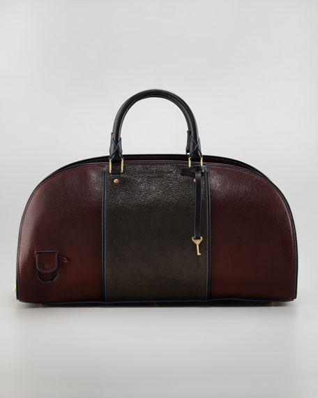 Toshi Colorblock Leather-Canvas Bowler Bag, Bordeaux/Gray