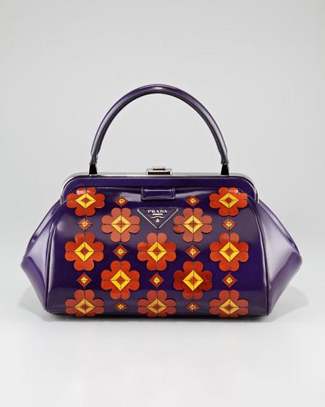 Floral Spazzolato Doctor's Bag, Viola