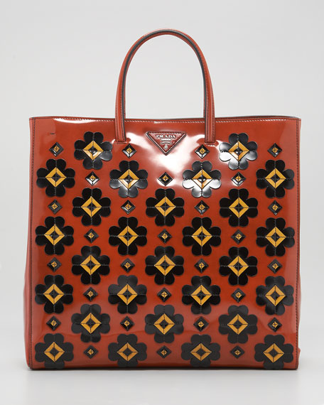Floral Applique Spazzolato Tote Bag