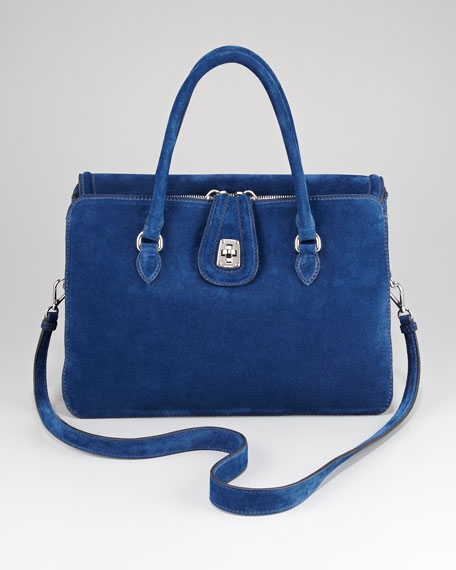 Three-Pocket Suede Satchel Bag