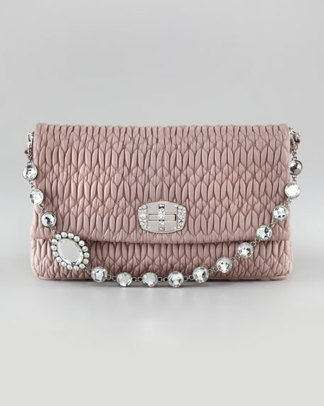 Jewel-Handle Large Clutch Bag
