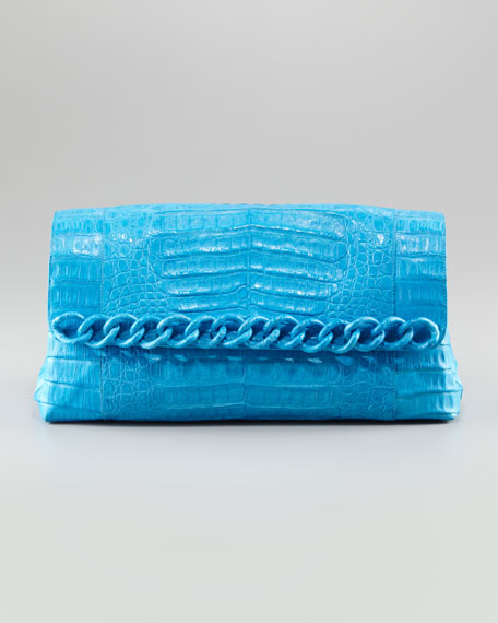 Large Chain Crocodile Clutch Bag, Cerulean Matte