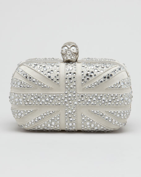 Crystal Britannia Box Clutch Bag, Gray