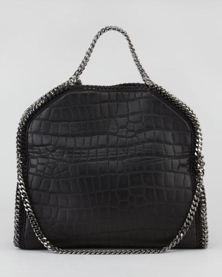 Crocodile-Embossed Fold-Over Falabella Tote Bag, Black