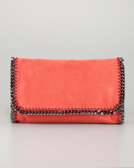 Falabella Faux-Leather Fold-Over Clutch Bag, Amaryllis