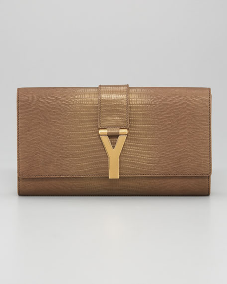 ChYc Embossed Metallic Leather Clutch Bag