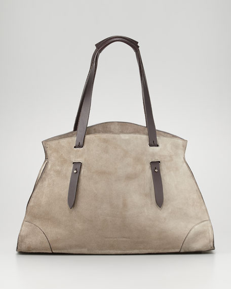 Cashmere-Lined Suede Tote Bag