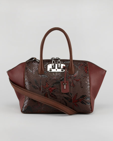 Brera Python/Leather Satchel Bag