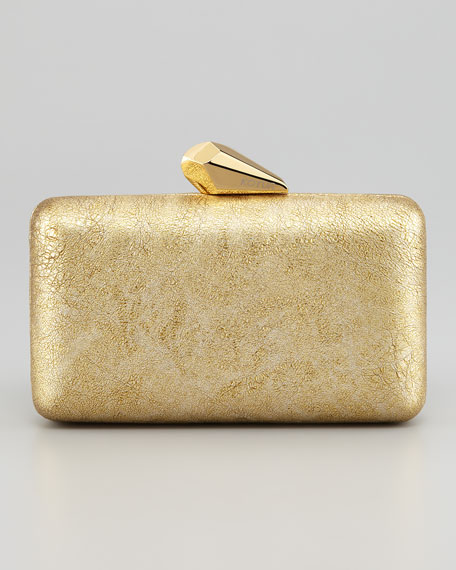 Espey Crinkled Leather Minaudiere, Yellow Golden