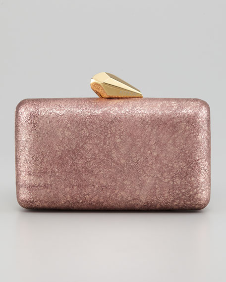 Espey Crinkled Leather Minaudiere, Rose Golden