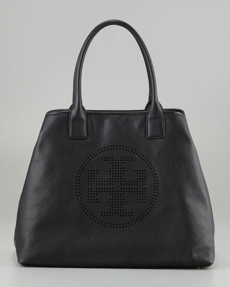 Perforated Logo Leather Tote Bag, Black