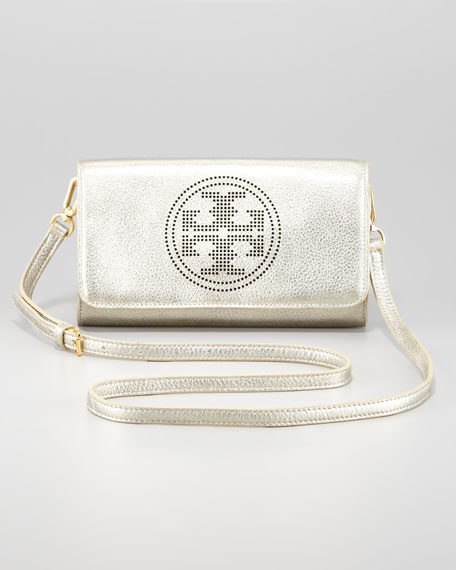 Logo-Perforated Leather Clutch Bag, Light Platinum