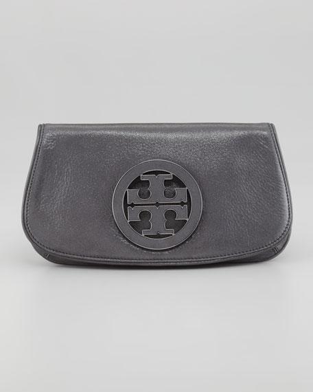 Glitter Logo Clutch Bag, Light Blue-Gray