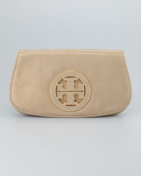 Glitter Logo Clutch Bag, Light Gold