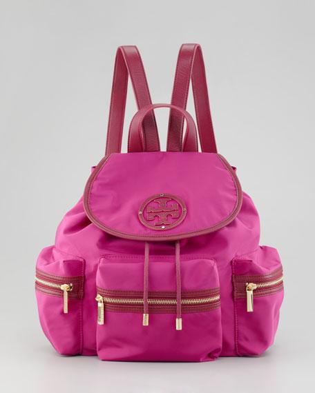 Stacked Nylon Logo Backpack, Party Fuchsia
