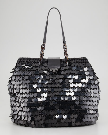 Fache Large Sequin Tote Bag, Black