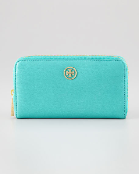 Robinson Continental Zip Wallet, Turquoise/Tory Navy