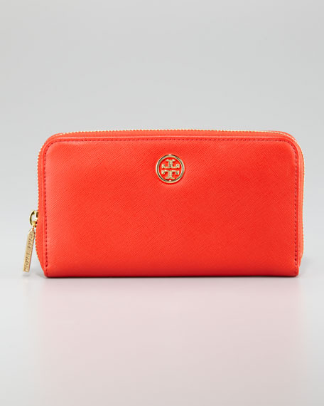 Robinson Zip Continental Wallet, Hot Red Clay/Beige