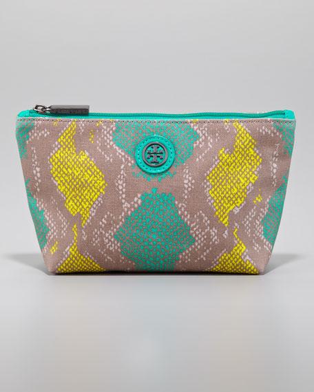 Slouchy Snake-Print Small Cosmetic Bag, Sea Urchin