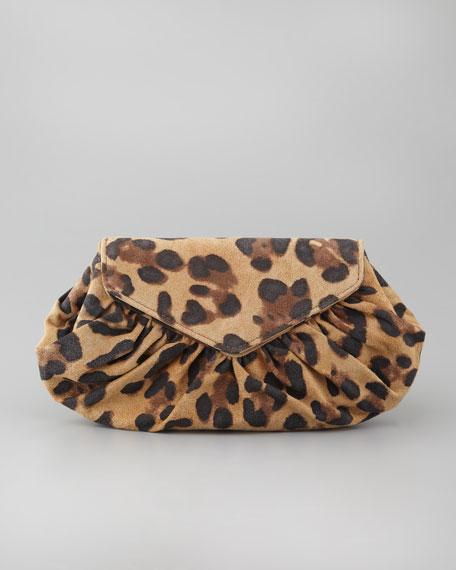 Diana Leopard-Print Suede Pouchette