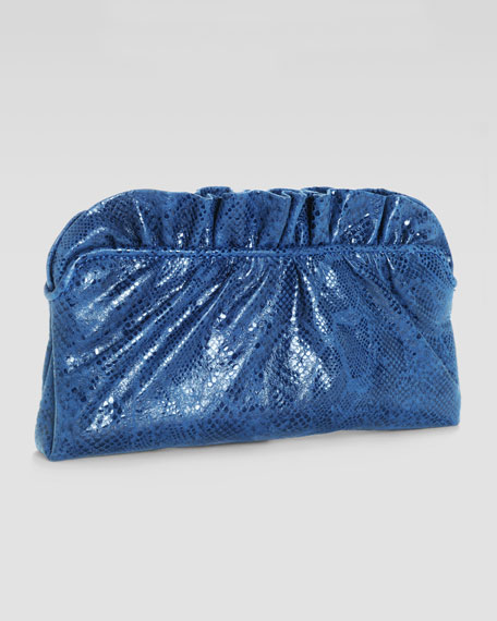 Georgie Ruffled Python-Print Clutch Bag