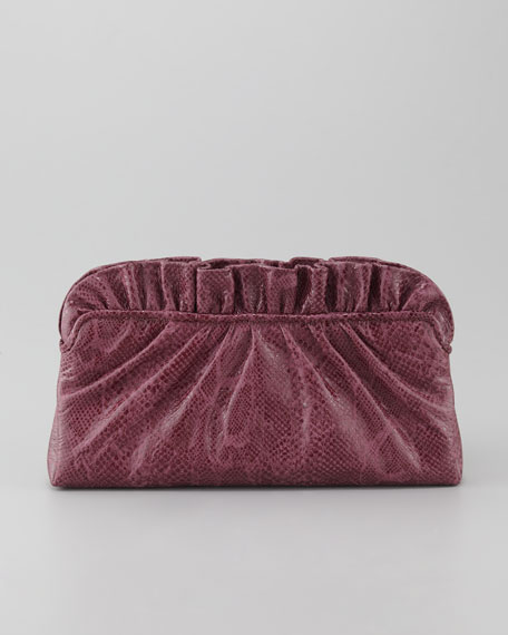 Georgie Glossy Python-Embossed Clutch Bag