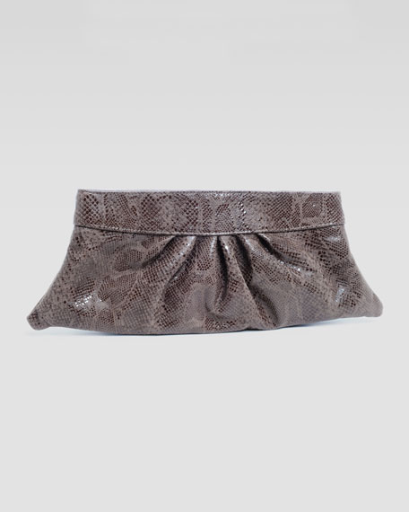 Louise Glossy-Python Clutch Bag, Cocoa