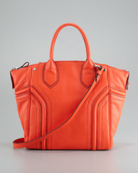 Zoey Leather Tote Bag, Tangerine