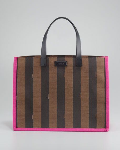 Pequin Small Shopping Tote Bag, Fuchsia/Tobacco