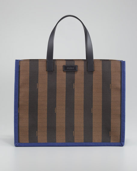 Pequin Small Shopping Tote Bag, Blue/Tobacco