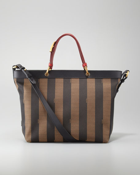 Pequin Striped Shoulder Tote Bag, Red