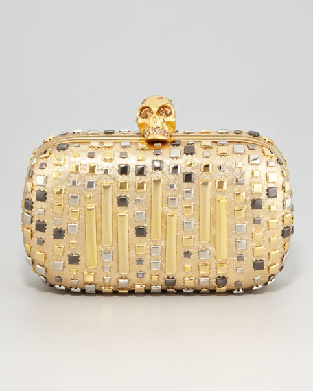Mixed Studs Metallic Skull-Clasp Clutch Bag
