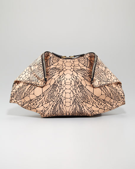 De-Manta Spine-Print Clutch Bag