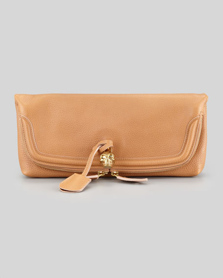 Skull Padlock Fold-Over Clutch Bag, Camel